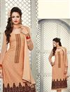 image of Straight Cut Georgette Salwar Kameez with Embroidery in Orange Color