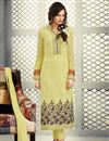 image of Designer Party Wear Georgette Salwar Kameez in Yellow Color