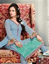 photo of Straight Cut Georgette Salwar Kameez with Embroidery in Blue Color
