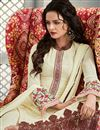 photo of Cream Color Straight Cut Georgette Salwar Kameez with Embroidery