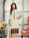image of Straight Cut Georgette Salwar Kameez with Embroidery in Cream Color