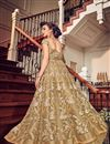 picture of Beige Color Net Fabric Embroidery Work Designer 3 Piece Sharara Top Lehenga In Net Fabric