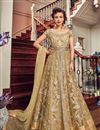 image of Beige Color Net Fabric Wedding Wear Sharara Top Lehenga With Embroidery Work
