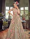 photo of Net Party Wear Anarkali Salwar Suit In Chikoo With Embroidery Work
