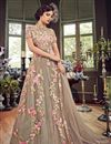 image of Net Party Wear Anarkali Salwar Suit In Chikoo With Embroidery Work