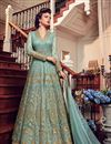 image of Net Festive Wear Sharara Top Lehenga In Light Cyan With Embroidery Work