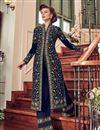 photo of Embroidery Designs On Navy Blue Georgette Function Wear Anarkali Salwar Suit