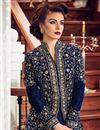 picture of Embroidery Designs On Navy Blue Georgette Function Wear Anarkali Salwar Suit