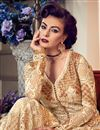picture of Embroidery Work On Beige Net Wedding Wear Anarkali Salwar Suit