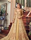 image of Embroidery Work On Beige Net Wedding Wear Anarkali Salwar Suit