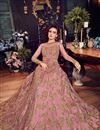 photo of Net Pink Sangeet Wear Anarkali Suit With Embroidery Work