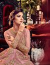 picture of Net Pink Sangeet Wear Anarkali Suit With Embroidery Work
