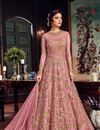 image of Net Pink Sangeet Wear Anarkali Suit With Embroidery Work