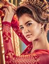 picture of Embroidery Designs On Net Party Wear Anarkali Suit In Red Color