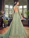 photo of Sea Green Designer Embroidered Anarkali Salwar Kameez In Net Fabric