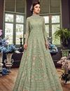 image of Sea Green Designer Embroidered Anarkali Salwar Kameez In Net Fabric