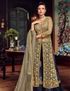 image of Beige Net Festive Wear Palazzo Salwar Suit With Embroidery Work