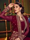 photo of Occasion Wear Maroon Embroidered Palazzo Suit In Georgette Fabric