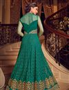 photo of Net Fabric Cyan Function Wear Anarkali Salwar Kameez With Embroidery Designs