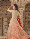 photo of Designer Long Anarkali Salwar Kameez In Cream And Red