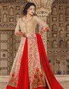 image of Designer Long Anarkali Salwar Kameez In Cream And Red
