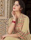 photo of Cream Designer Fancy Long Floor Length Anarkali Dress In Satin