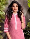 photo of Pink Color Cotton Fabric Festive Wear Embroidered Kurti With Bottom