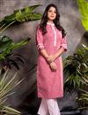 image of Pink Color Cotton Fabric Festive Wear Embroidered Kurti With Bottom