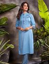 image of Blue Color Festive Wear Embroidered Kurti With Bottom In Cotton Fabric
