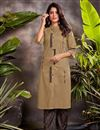 image of Cotton Fabric Festive Wear Beige Color Embroidered Kurti With Bottom