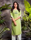 image of Sea Green Color Festive Wear Cotton Fabric Embroidered Kurti With Bottom