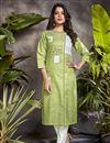 image of Green Color Casual Wear Stylish Cotton Fabric Kurti