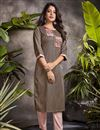 image of Cotton Fabric Fancy Office Wear Kurti In Brown Color