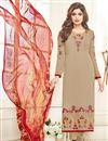image of Shamita Shetty Featuring Beige Color Embroidered Designer Salwar Kameez