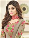photo of Shamita Shetty Featuring  Beautiful Chikoo  Color Salwar Suit With Embroidery Work