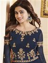 photo of Wedding Special Shamita Shetty Navy Blue Anarkali Salwar Suit With Work In Georgette Fabric