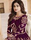photo of Festive Special Shamita Shetty Anarkali Salwar Kameez In Purple Georgette Fabric With Work