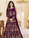 image of Festive Special Shamita Shetty Anarkali Salwar Kameez In Purple Georgette Fabric With Work