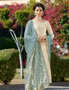 image of Jacquard Fabric Party Wear Embroidered Straight Cut Salwar Kameez In Beige