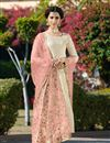 image of Jacquard Fabric Embroidered Festive Wear Straight Cut Salwar Kameez In Beige