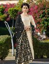 image of Embroidery On Jacquard Fabric Beige Party Wear Designer Straight Cut Salwar Suit