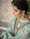 photo of Light Cyan Designer Embroidered Palazzo Salwar Kameez In Georgette Fabric