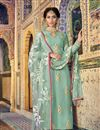 image of Light Cyan Designer Embroidered Palazzo Salwar Kameez In Georgette Fabric