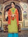 image of Jacquard Party Wear Palazzo Salwar Suit In Green With Embroidery Work