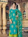 image of Cyan Chanderi Function Wear Embroidered Palazzo Suit