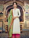 image of Occasion Wear Beige Embroidered Palazzo Salwar Kameez In Jacquard Fabric