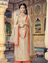 image of Embroidery Work On Cream Chanderi Wedding Wear Palazzo Salwar Suit