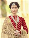 photo of Traditional Party Style Jacquard Fabric Floor Lehngth Red Anarkali Suit