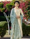 image of Traditional Beige Party Wear Straight Cut Suit In Jacquard Fabric
