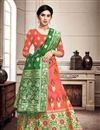 image of Weaving Work Salmon Color Wedding Lehenga In Art Silk Fabric With Designer Choli